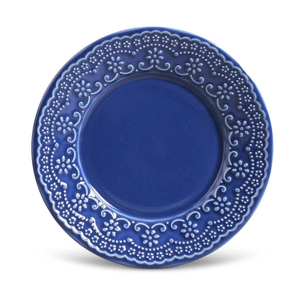 Conjunto de Pratos para Sobremesa Madeleine Azul Navy - 6 Peças - em Cerâmica - La Tavola - Porto Brasil - 20,5x2,7 cm