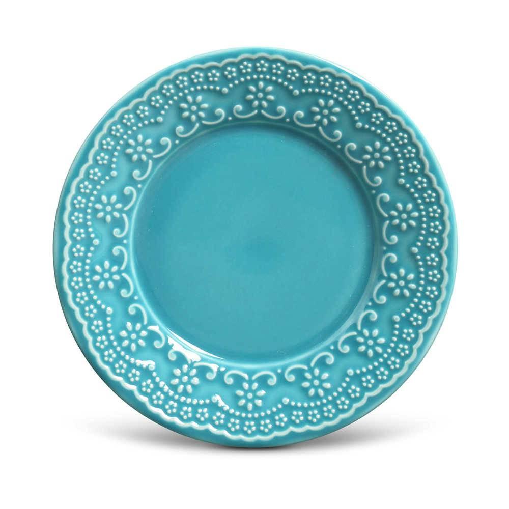 Conjunto de Pratos para Sobremesa Madeleine Azul Poppy - 6 Peças - em Cerâmica - La Tavola - Porto Brasil - 20,5x2,7 cm