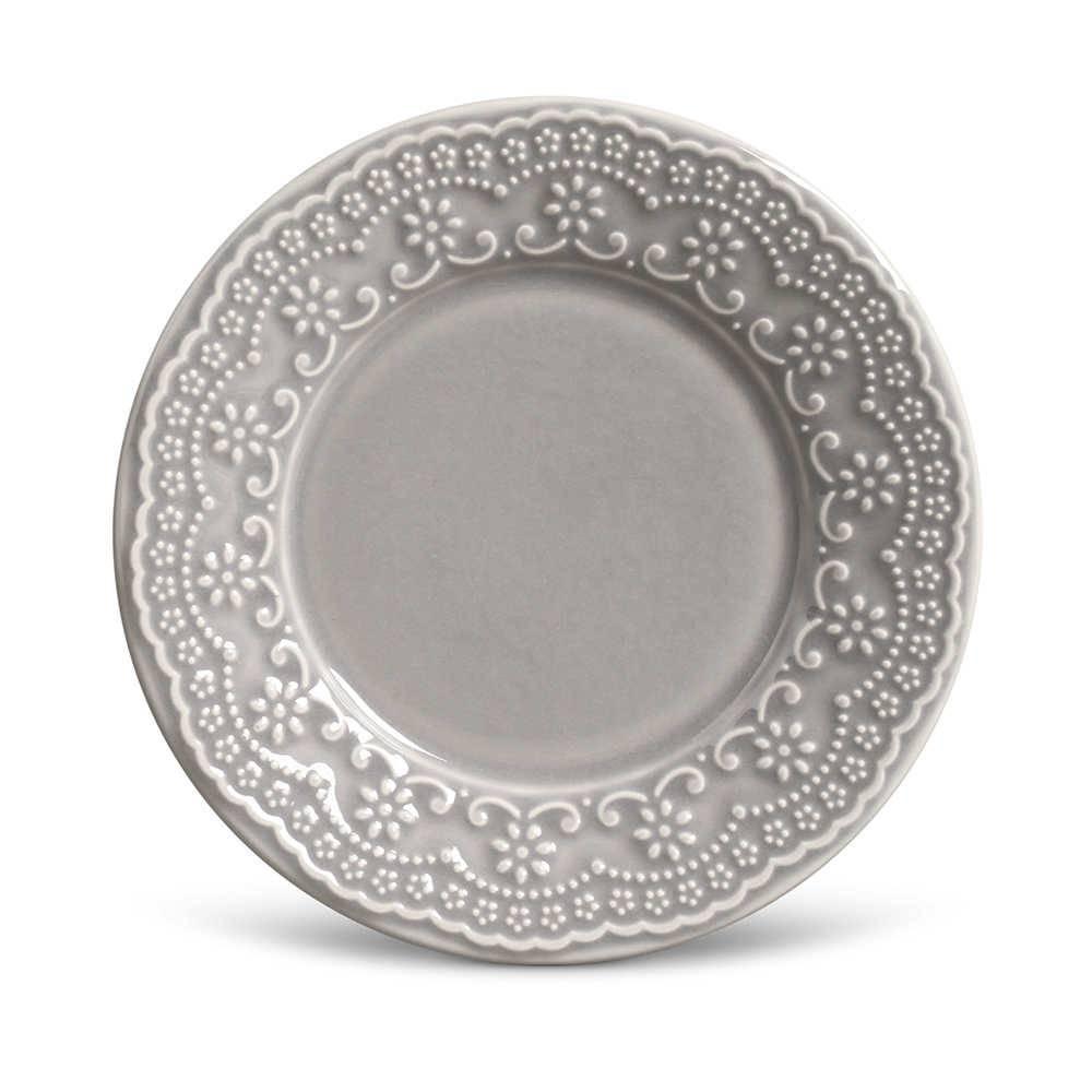 Conjunto de Pratos para Sobremesa Madeleine Cinza Claro - 6 Peças - em Cerâmica - La Tavola - Porto Brasil - 20,5x2,7 cm