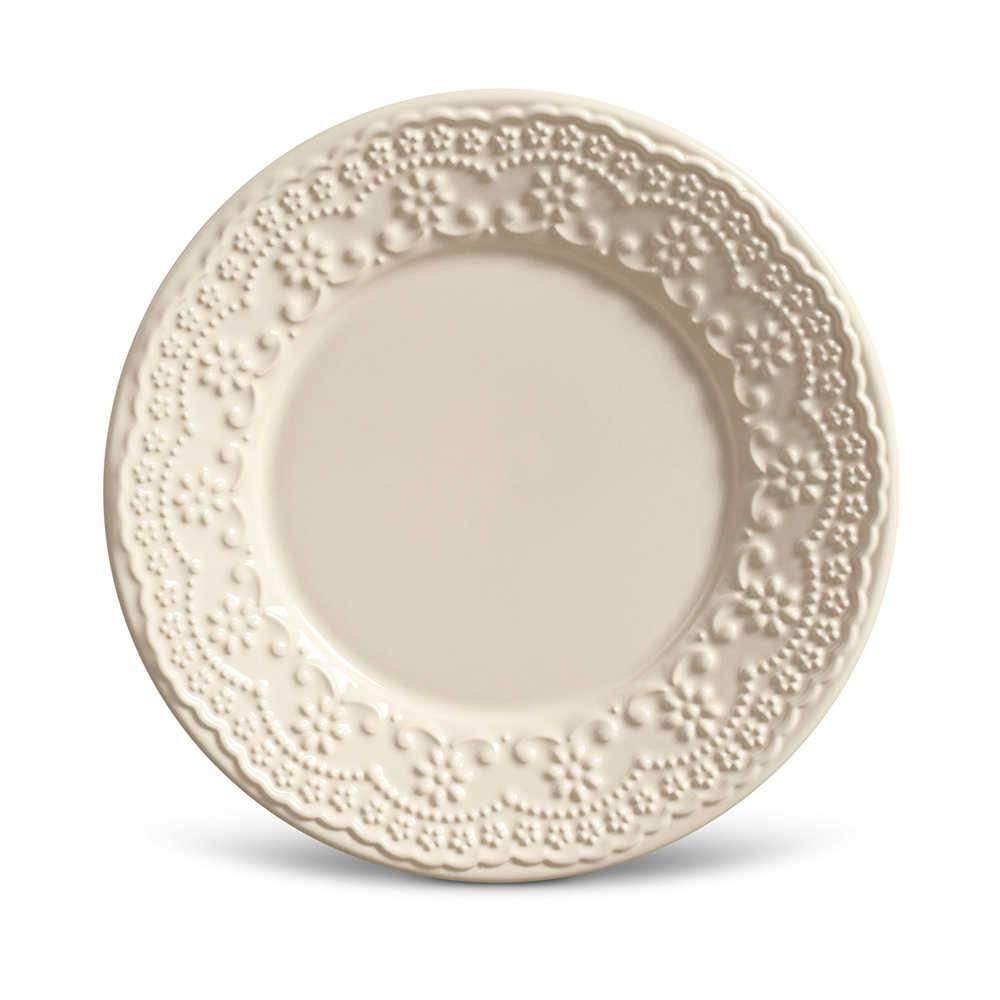Conjunto de Pratos para Sobremesa Madeleine Crú - 6 Peças - em Cerâmica - La Tavola - Porto Brasil - 20,5x2,7 cm