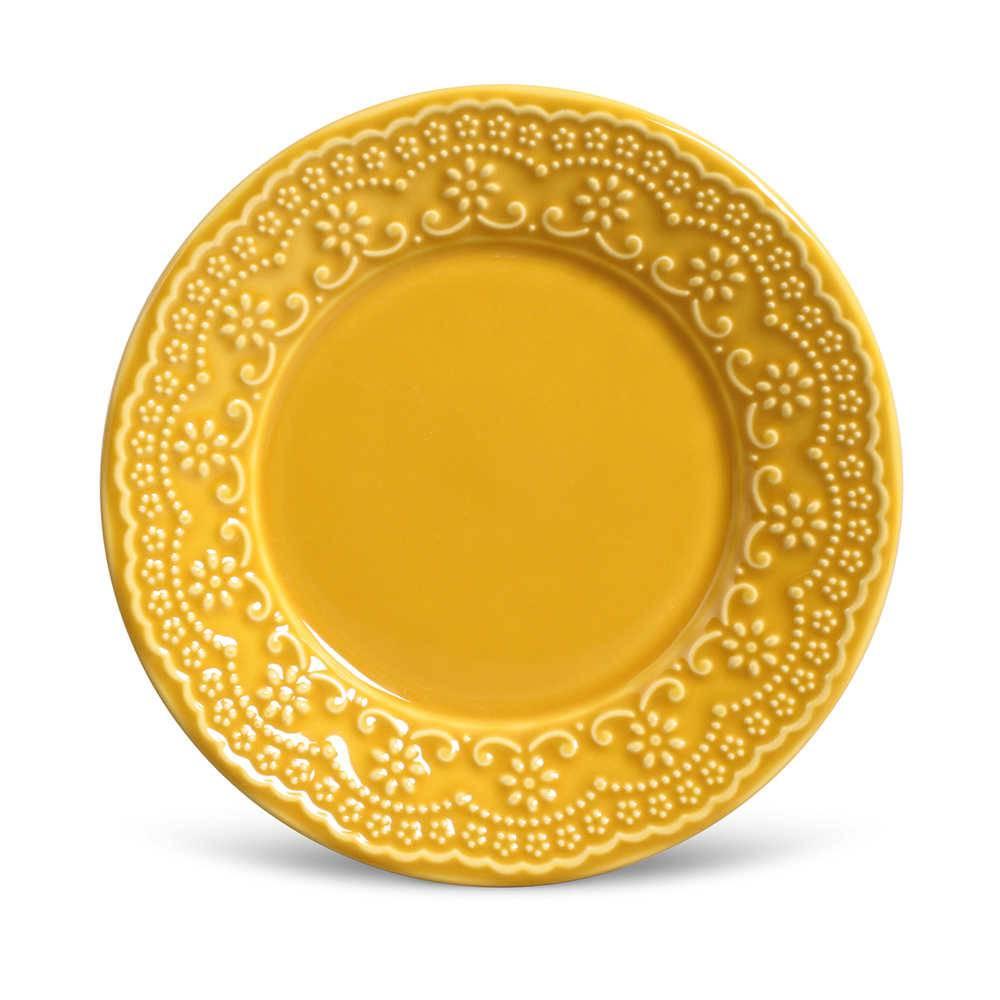 Conjunto de Pratos para Sobremesa Madeleine Mostarda - 6 Peças - em Cerâmica - La Tavola - Porto Brasil - 20,5x2,7 cm