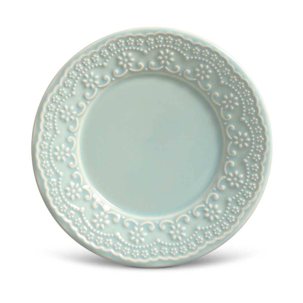 Conjunto de Pratos para Sobremesa Madeleine Verde - 6 Peças - em Cerâmica - La Tavola - Porto Brasil - 20,5x2,7 cm