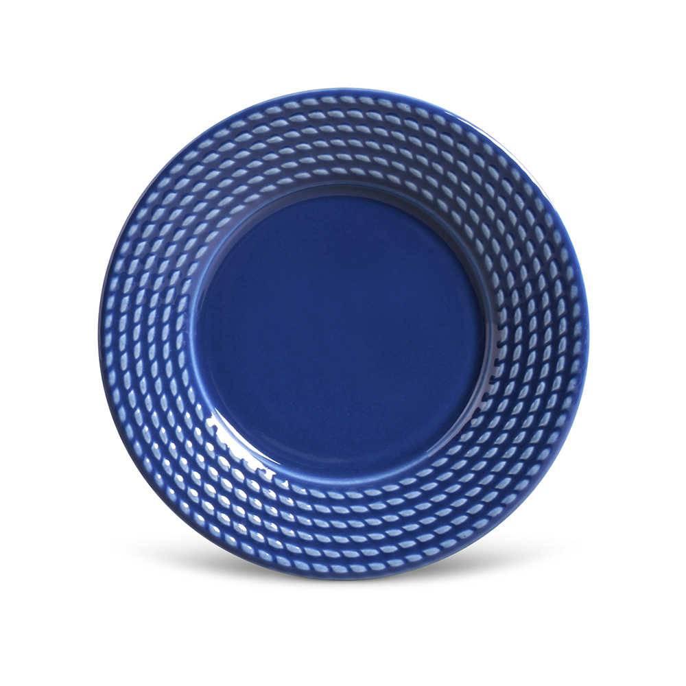 Conjunto de Pratos para Sobremesa Olimpia Azul Navy - 6 Peças - em Cerâmica - La Tavola - Porto Brasil - 20,5x2,7 cm