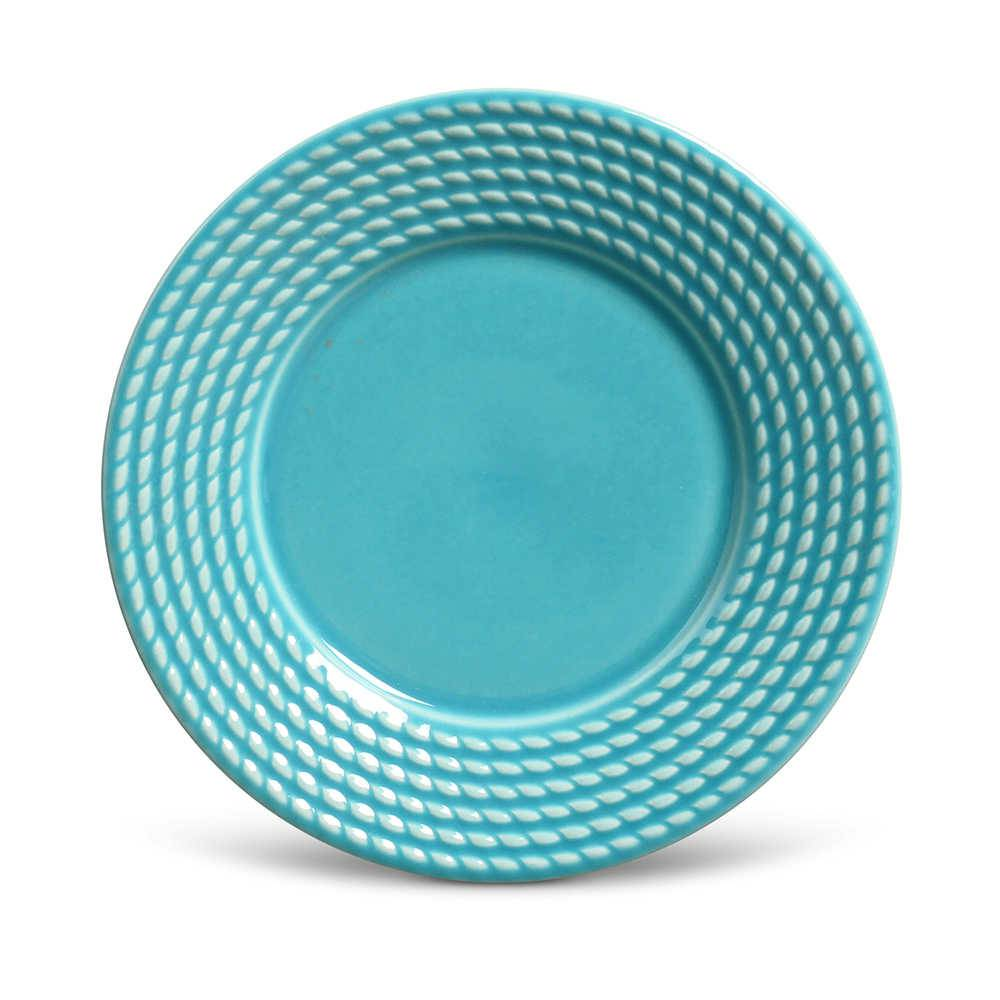 Conjunto de Pratos para Sobremesa Olimpia Azul Poppy - 6 Peças - em Cerâmica - La Tavola - Porto Brasil - 20,5x2,7 cm
