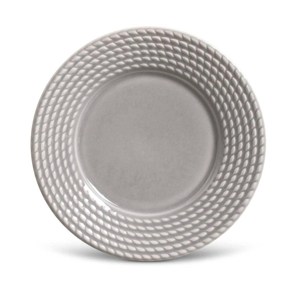 Conjunto de Pratos para Sobremesa Olimpia Cinza Claro - 6 Peças - em Cerâmica - La Tavola - Porto Brasil - 20,5x2,7 cm