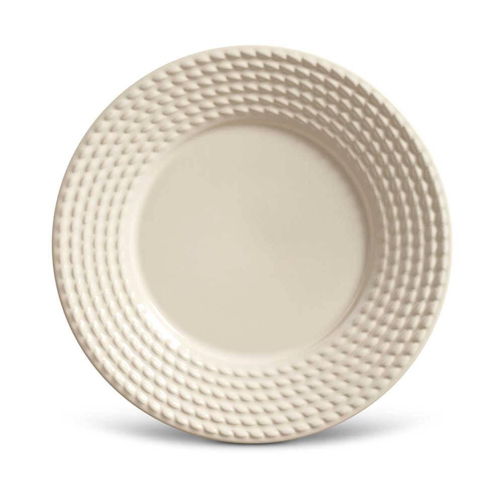 Conjunto de Pratos para Sobremesa Olimpia Crú - 6 Peças - em Cerâmica - La Tavola - Porto Brasil - 20,5x2,7 cm