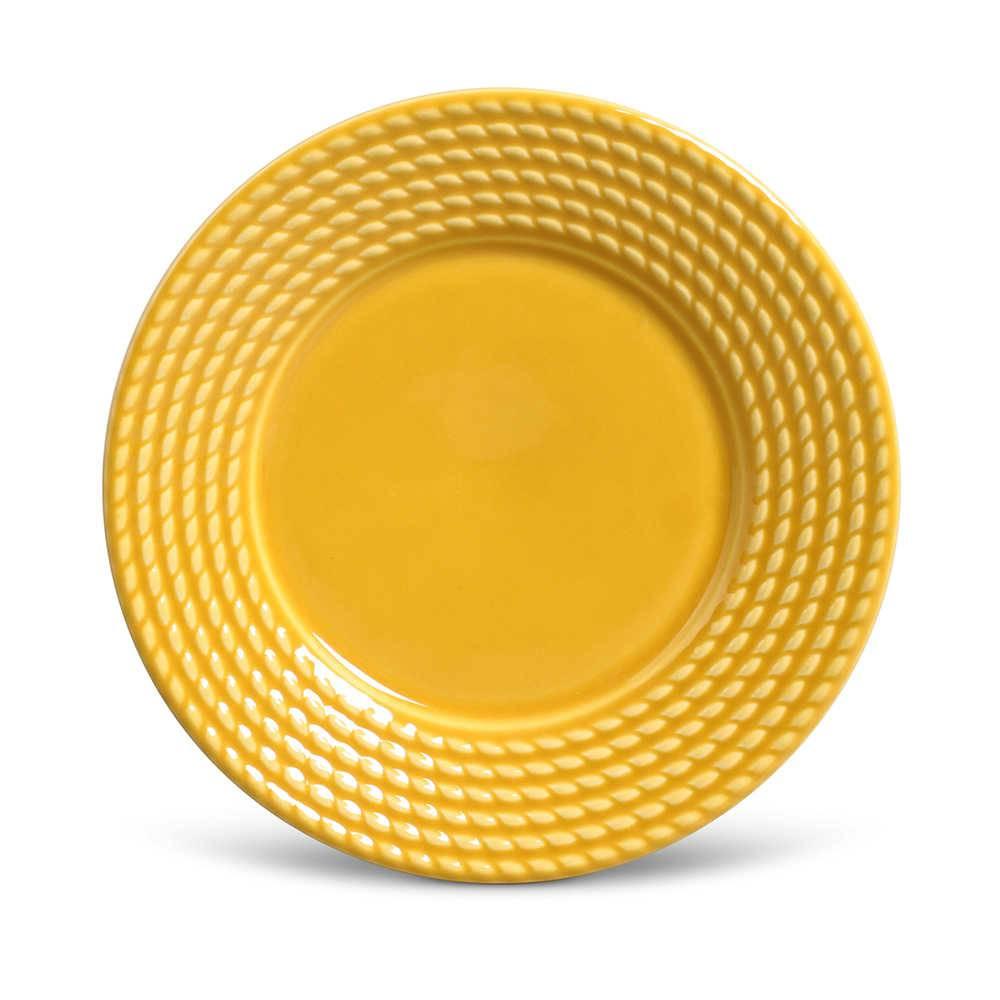 Conjunto de Pratos para Sobremesa Olimpia Mostarda - 6 Peças - em Cerâmica - La Tavola - Porto Brasil - 20,5x2,7 cm