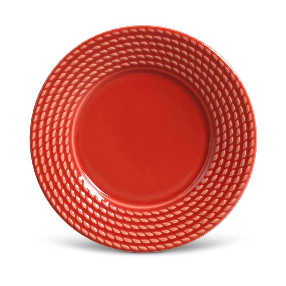 Conjunto de Pratos para Sobremesa Olimpia Vermelho - 6 Peças - em Cerâmica - La Tavola - Porto Brasil - 20,5x2,7 cm