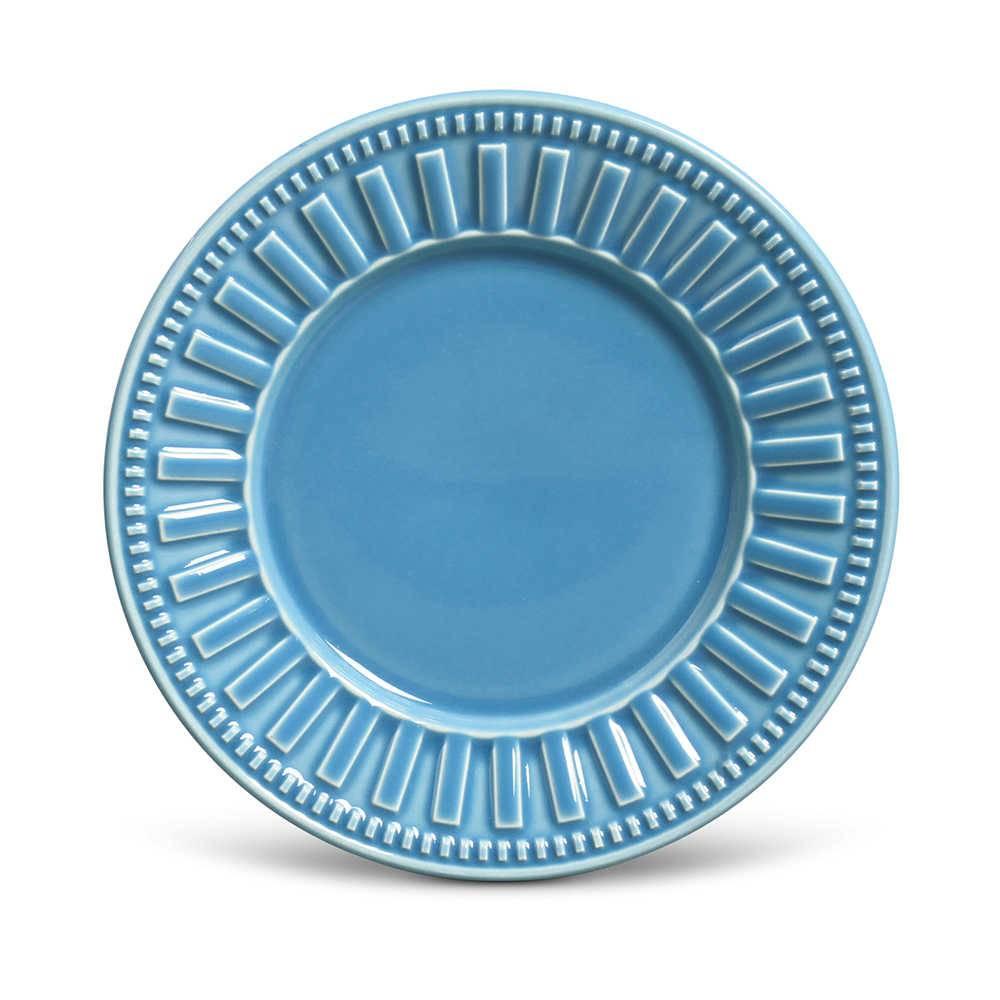 Conjunto de Pratos para Sobremesa Parthenon Azul - 6 Peças - em Cerâmica - La Tavola - Porto Brasil - 20,5x2,7 cm