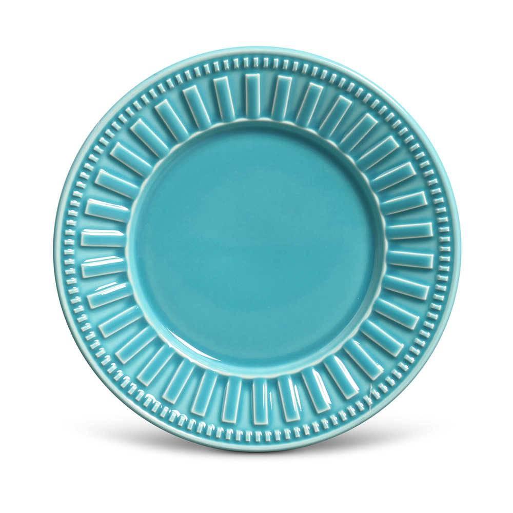 Conjunto de Pratos para Sobremesa Parthenon Azul Poppy - 6 Peças - em Cerâmica - La Tavola - Porto Brasil - 20,5x2,7 cm