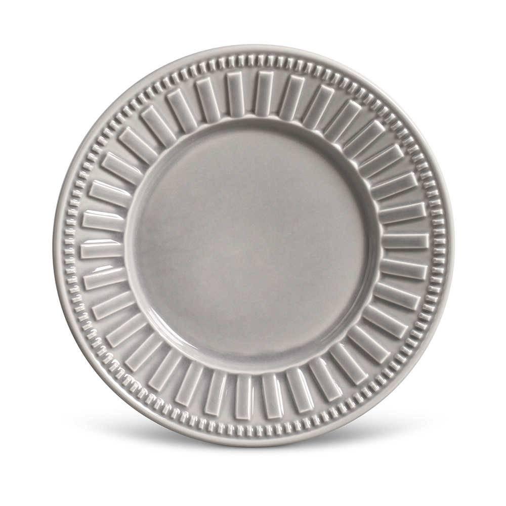 Conjunto de Pratos para Sobremesa Parthenon Cinza Claro - 6 Peças - em Cerâmica - La Tavola - Porto Brasil - 20,5x2,7 cm