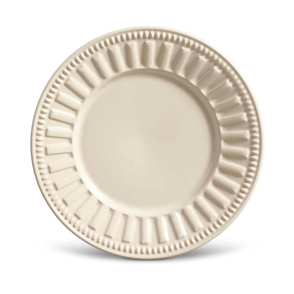 Conjunto de Pratos para Sobremesa Parthenon Crú - 6 Peças - em Cerâmica - La Tavola - Porto Brasil - 20,5x2,7 cm