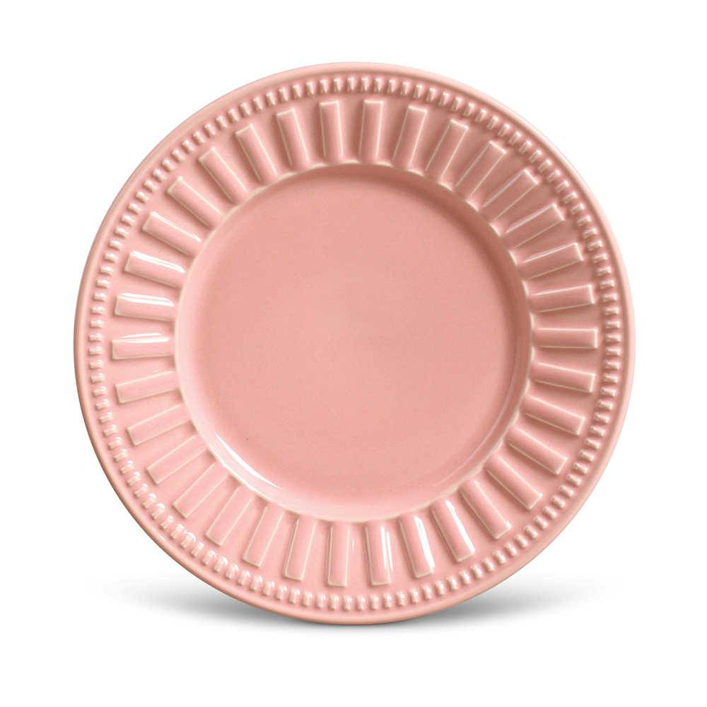 Conjunto de Pratos para Sobremesa Parthenon Rosa - 6 Peças - em Cerâmica - La Tavola - Porto Brasil - 20,5x2,7 cm