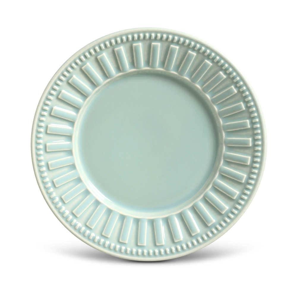 Conjunto de Pratos para Sobremesa Parthenon Verde - 6 Peças - em Cerâmica - La Tavola - Porto Brasil - 20,5x2,7 cm