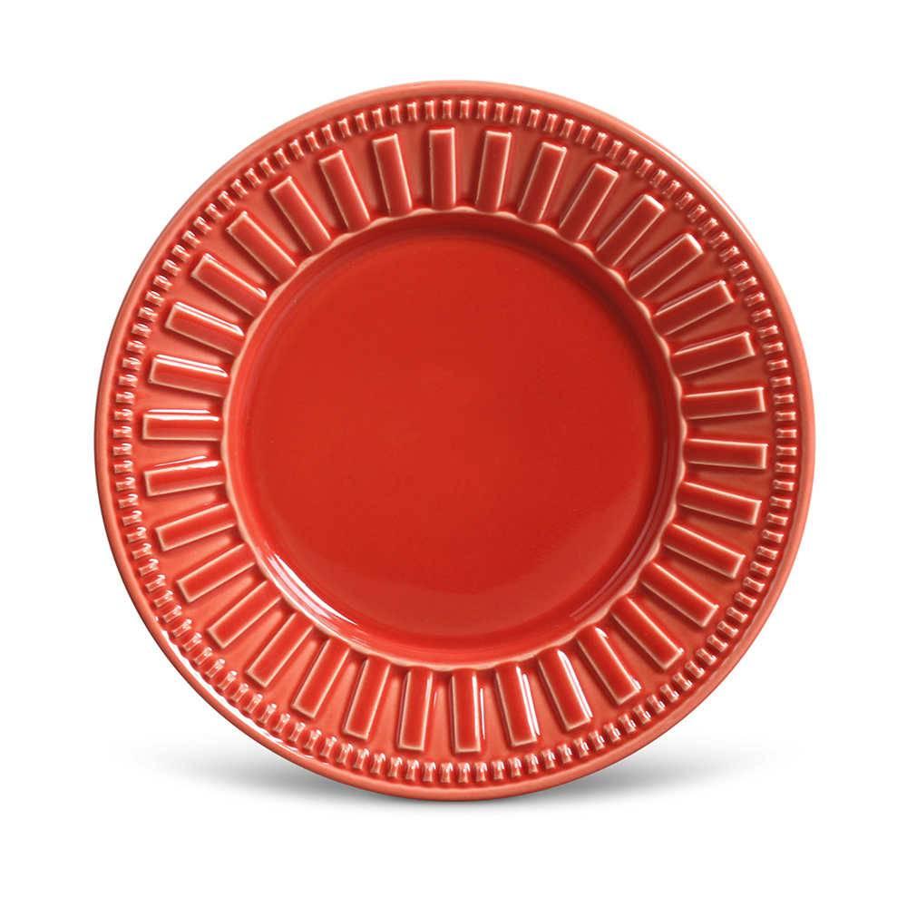 Conjunto de Pratos para Sobremesa Parthenon Vermelho - 6 Peças - em Cerâmica - La Tavola - Porto Brasil - 20,5x2,7 cm