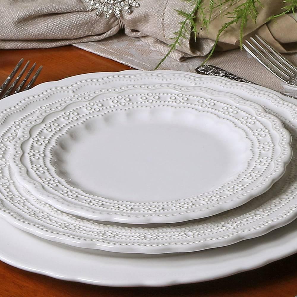Conjunto Pratos para Sobremesa Peniche Branco - 6 Peças - em Cerâmica - Porto Brasil - 20,5x2 cm