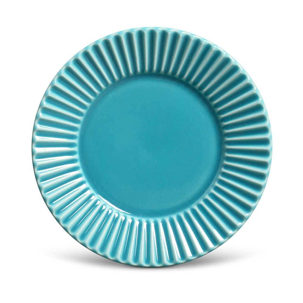 Conjunto de Pratos para Sobremesa Plissé Azul Poppy - 6 Peças - em Cerâmica - La Tavola - Porto Brasil - 20,5x2,7 cm