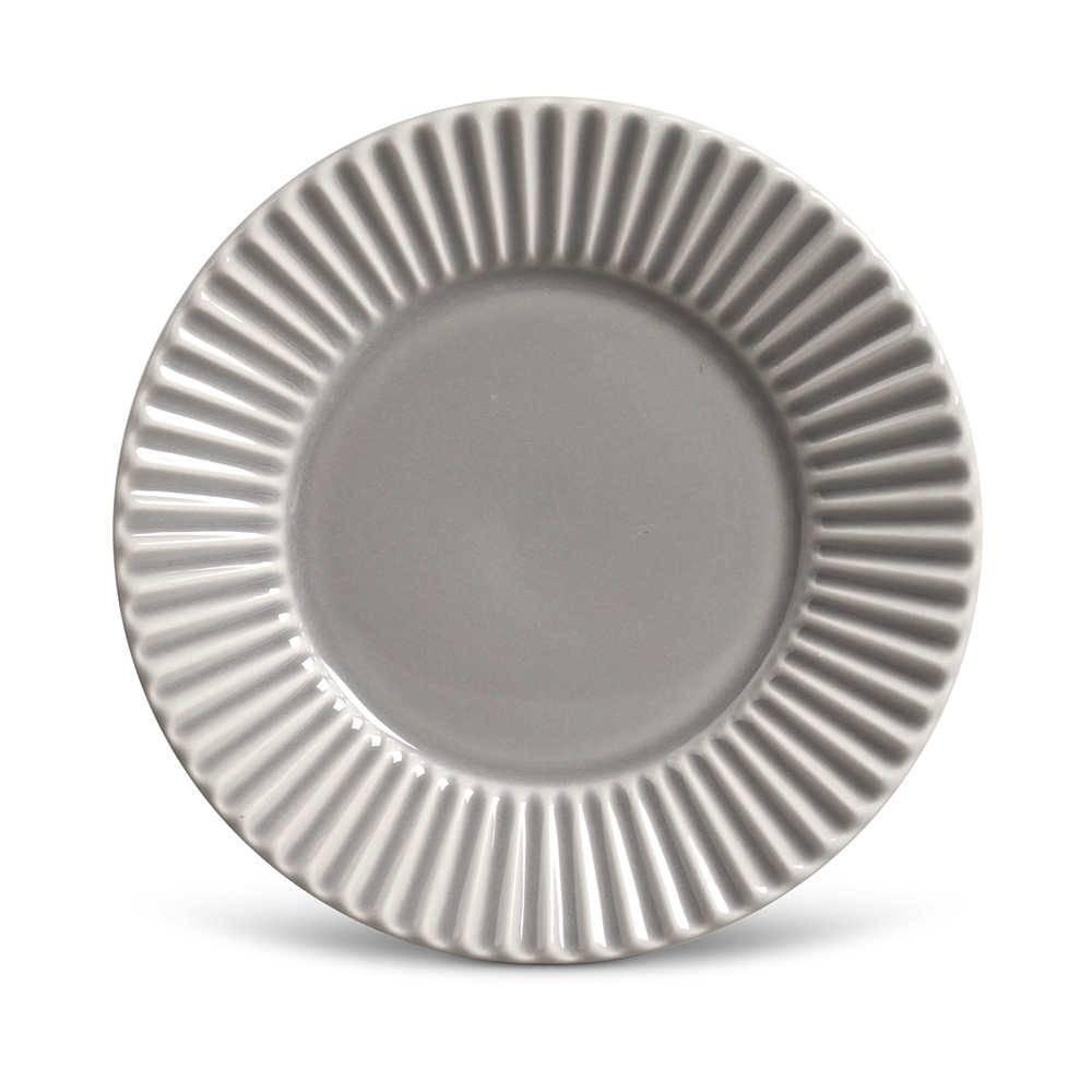 Conjunto de Pratos para Sobremesa Plissé Cinza Claro - 6 Peças - em Cerâmica - La Tavola - Porto Brasil - 20,5x2,7 cm