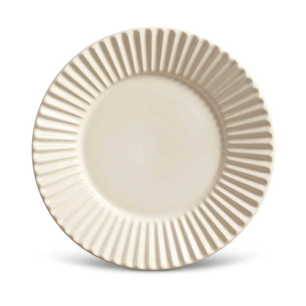 Conjunto de Pratos para Sobremesa Plissé Crú - 6 Peças - em Cerâmica - La Tavola - Porto Brasil - 20,5x2,7 cm