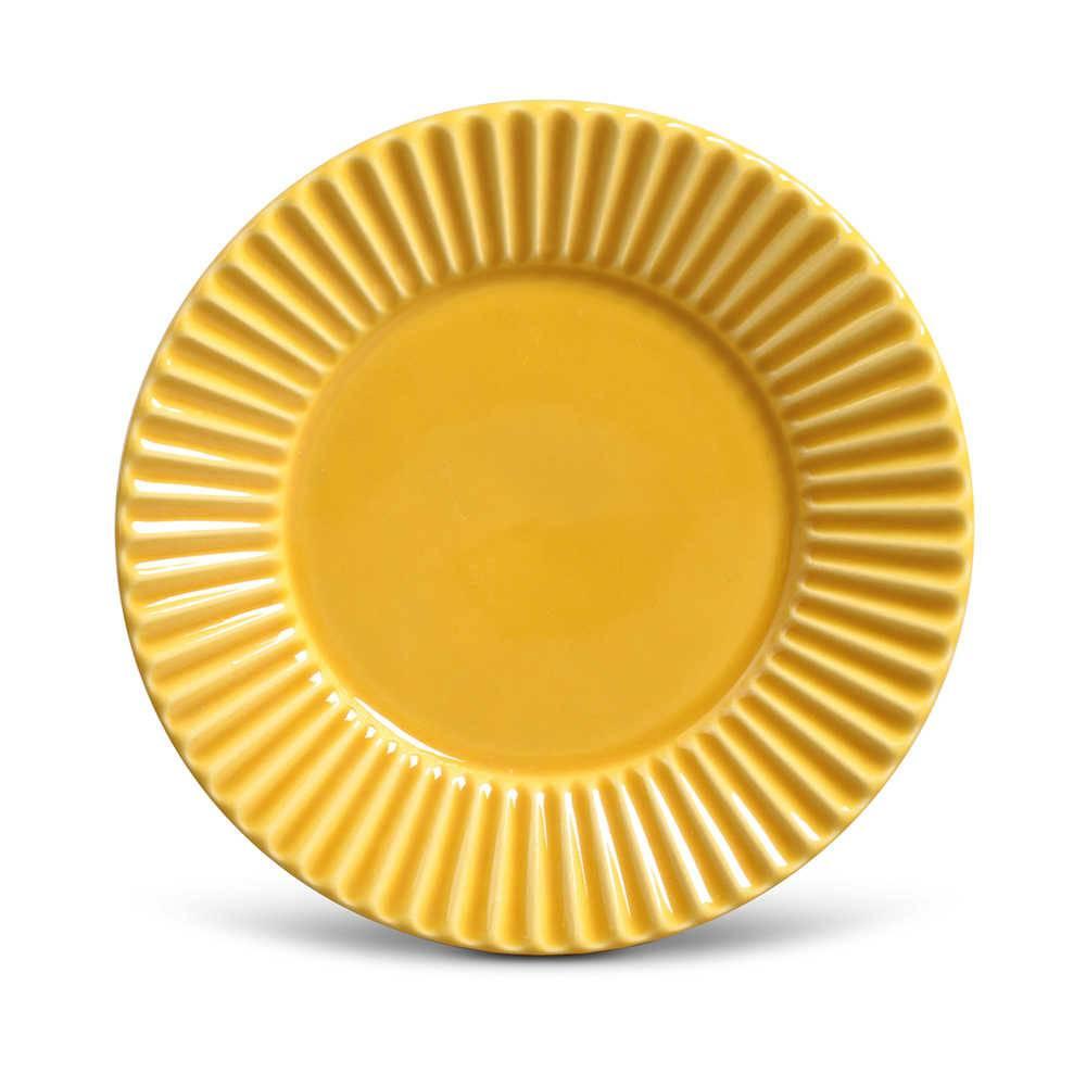 Conjunto de Pratos para Sobremesa Plissé Mostarda - 6 Peças - em Cerâmica - La Tavola - Porto Brasil - 20,5x2,7 cm