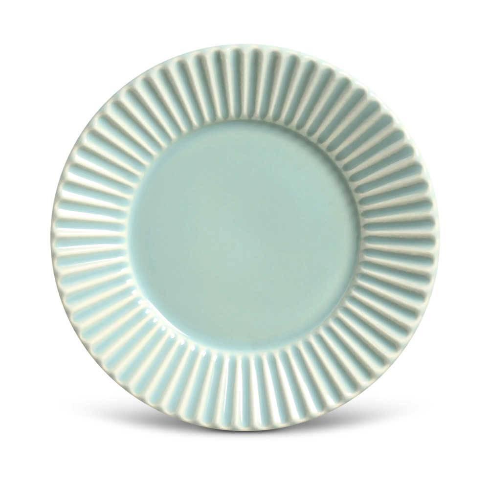 Conjunto de Pratos para Sobremesa Plissé Verde - 6 Peças - em Cerâmica - La Tavola - Porto Brasil - 20,5x2,7 cm