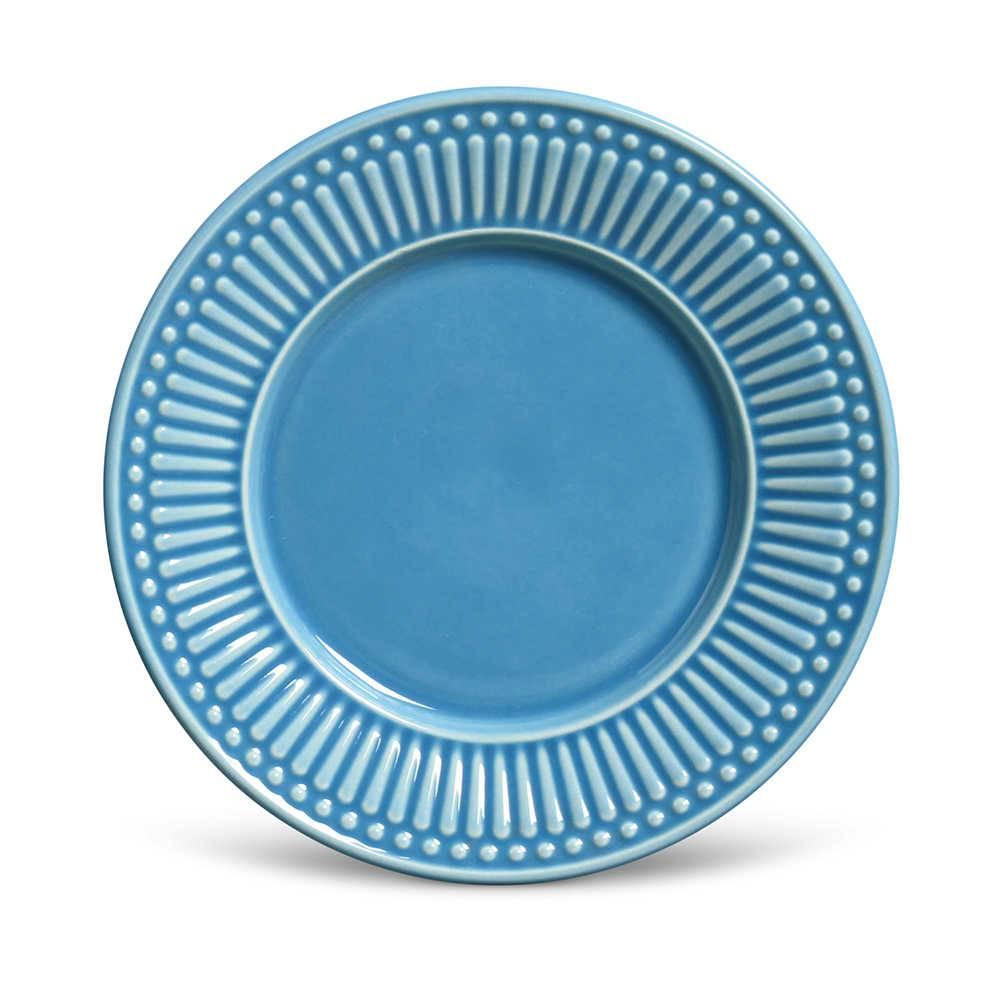 Conjunto de Pratos para Sobremesa Roma Azul - 6 Peças - em Cerâmica - La Tavola - Porto Brasil - 20,5x2,7 cm