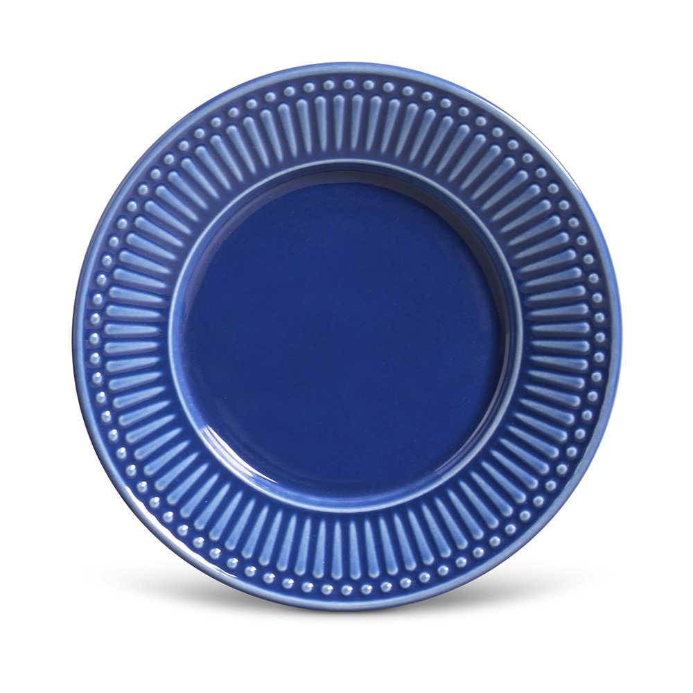 Conjunto de Pratos para Sobremesa Roma Azul Navy - 6 Peças - em Cerâmica - La Tavola - Porto Brasil - 20,5x2,7 cm