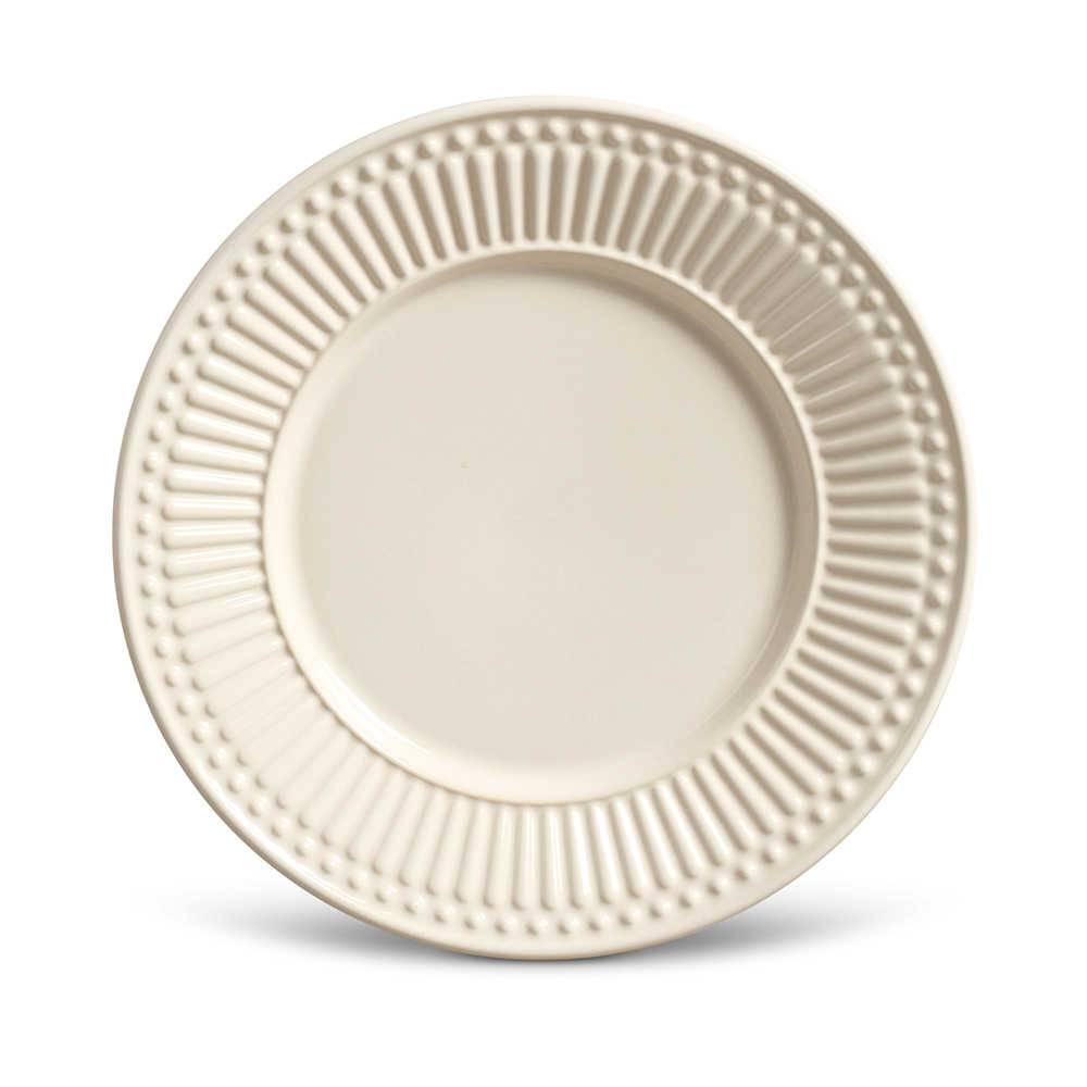 Conjunto de Pratos para Sobremesa Roma Crú - 6 Peças - em Cerâmica - La Tavola - Porto Brasil - 20,5x2,7 cm