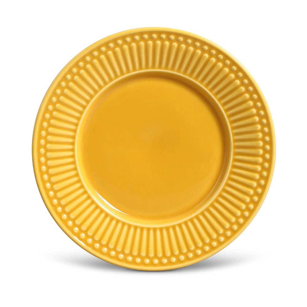 Conjunto de Pratos para Sobremesa Roma Mostarda - 6 Peças - em Cerâmica - La Tavola - Porto Brasil - 20,5x2,7 cm