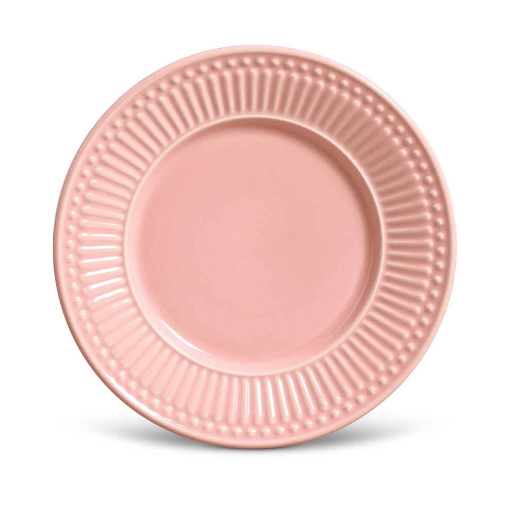 Conjunto de Pratos para Sobremesa Roma Rosa - 6 Peças - em Cerâmica - La Tavola - Porto Brasil - 20,5x2,7 cm