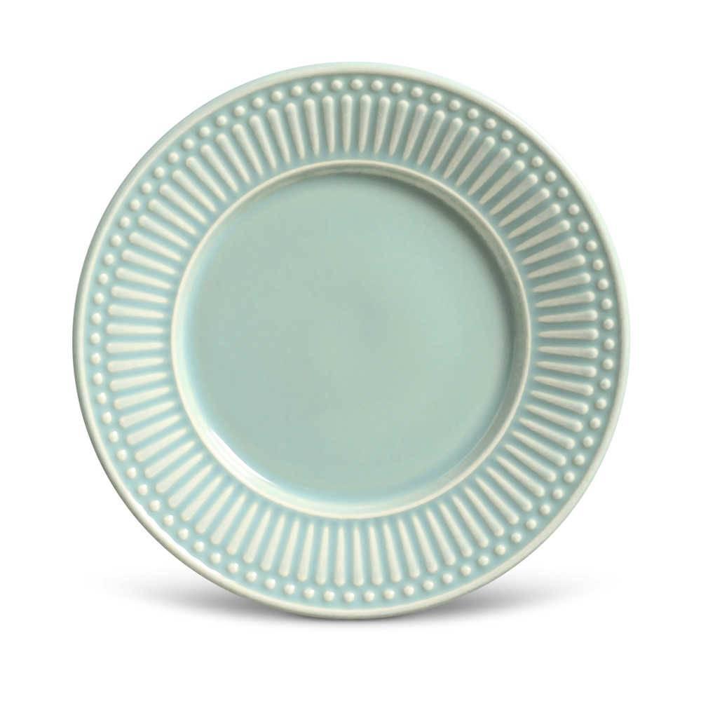 Conjunto de Pratos para Sobremesa Roma Verde - 6 Peças - em Cerâmica - La Tavola - Porto Brasil - 20,5x2,7 cm