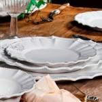 Conjunto Pratos para Sobremesa Windsor Branco - 6 Peças  - em Cerâmica - Porto Brasil - 20,5x20,5 cm