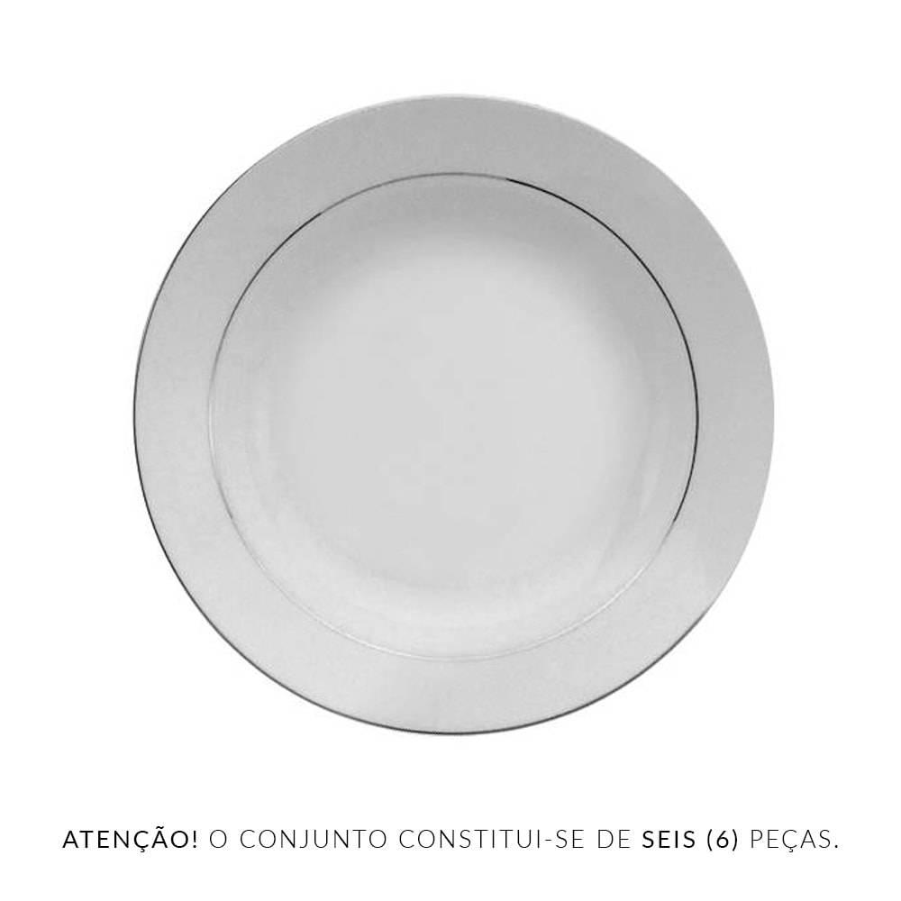 Conjunto de Pratos para Sopa Nice Silver - 6 Peças - em Porcelana - Wolff - 20 cm
