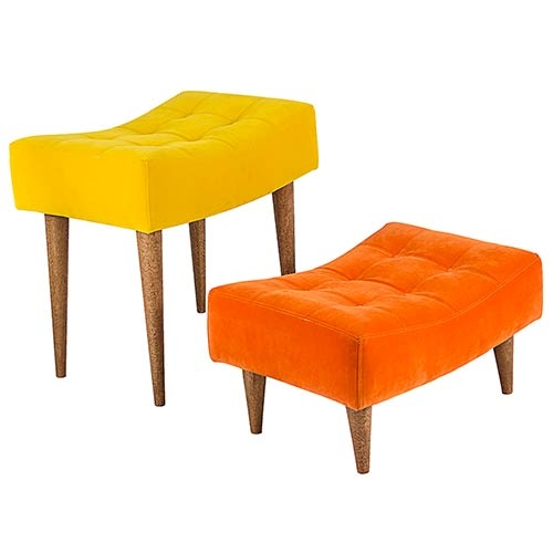 Conjunto Puffs Pé Palito Nobuck Amarelo e Laranja Fullway - 51x49 cm