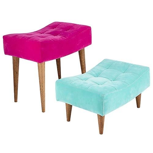 Conjunto de Puffs Pé Palito Nobuck Rosa e Azul Fullway - 51x49 cm