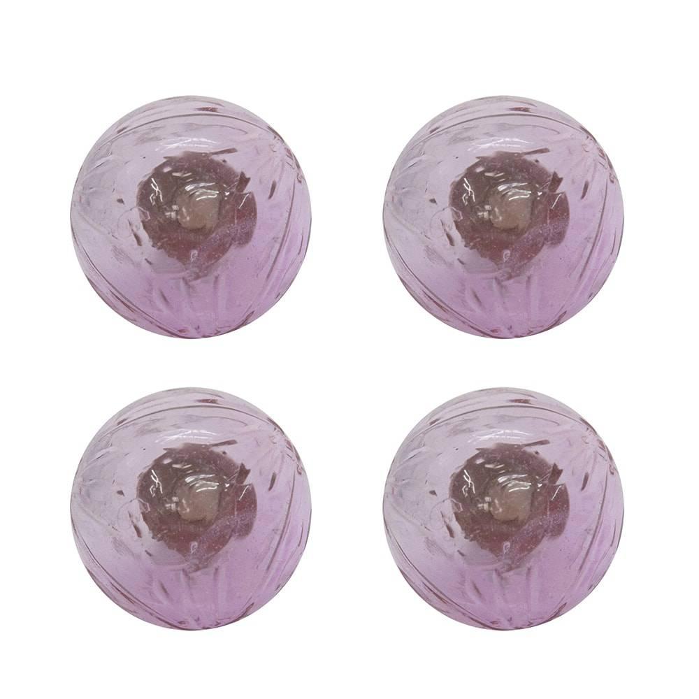 Conjunto de Puxadores Cristal - 4 Peças - Rosa em Vidro - 8x3 cm