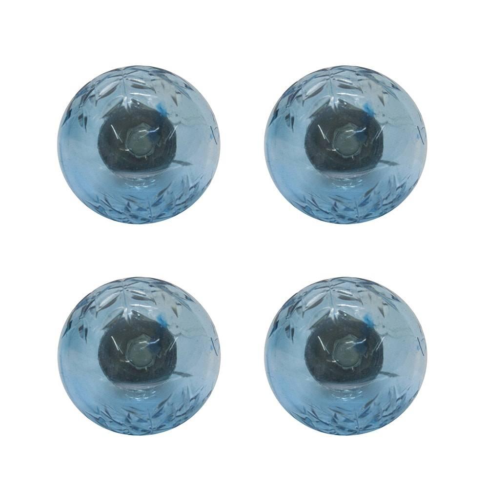 Conjunto de Puxadores Cristal - 4 Peças - Turquesa em Vidro - 8x3 cm