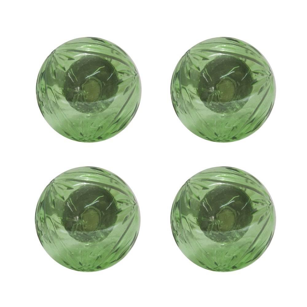 Conjunto de Puxadores Cristal - 4 Peças - Verde em Vidro - 8x3 cm