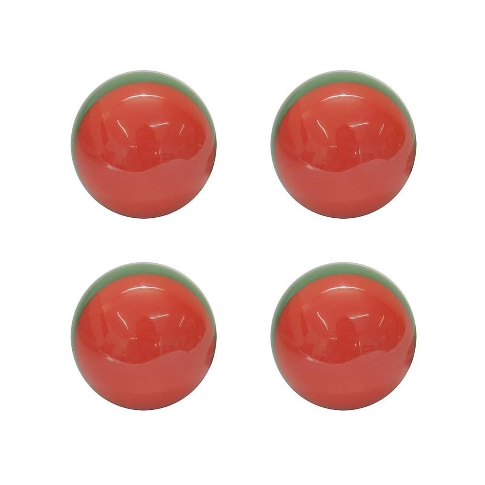 Conjunto de Puxadores Melância - 4 Peças - Vermelhos em Resina - 8x3 cm