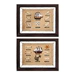Conjunto de Quadros Float And Ropes em Madeira - 45x37 cm