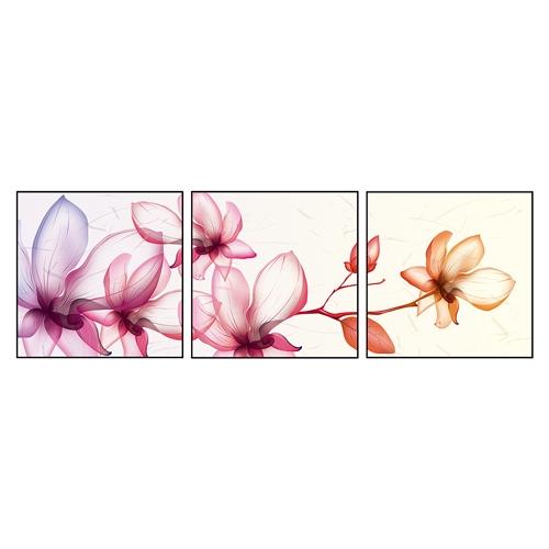 Conjunto de Quadros Flores 3D em Alumínio - 60x60 cm