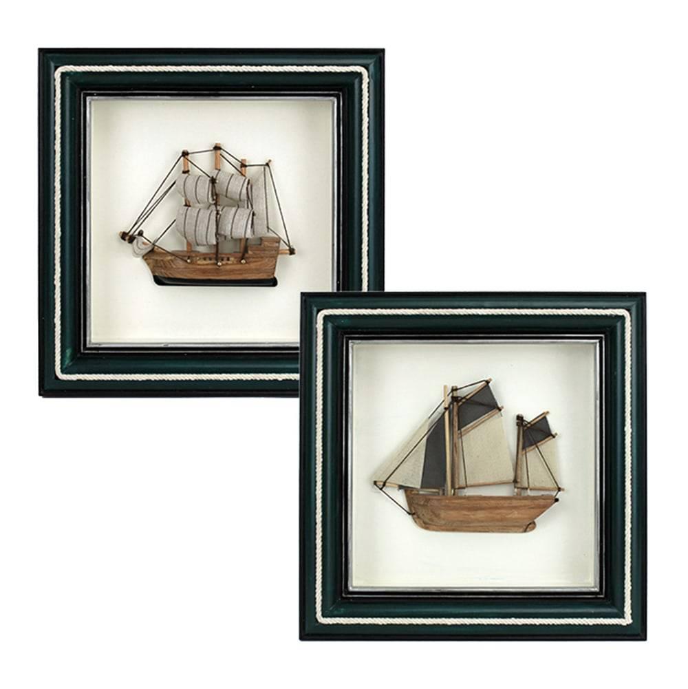 Conjunto Quadros Fragata 25 - 2 Peças - Moldura Preta em Madeira - 25x25 cm