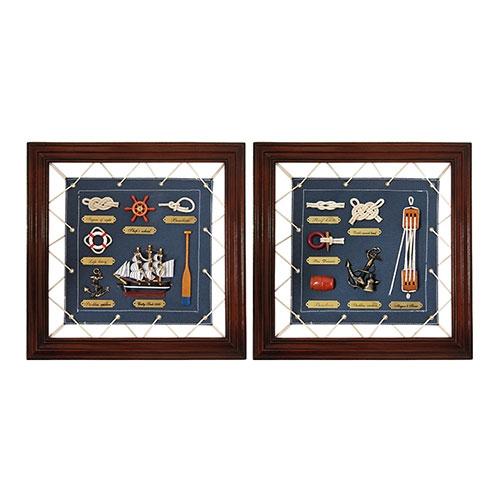 Conjunto de Quadros Nautical Life em Madeira - 35x35 cm