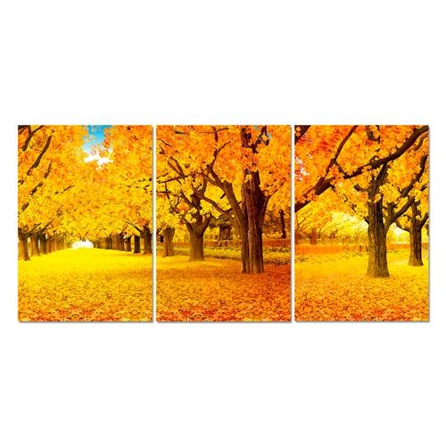 Conjunto de Quadros Outono 3D em Alumínio - 70x40 cm