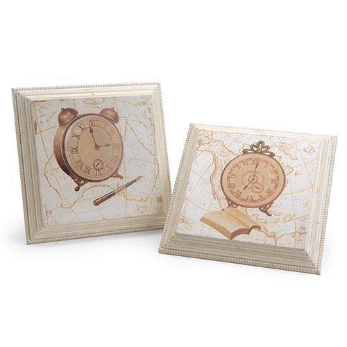 Conjunto de Quadros Relógios Antigos em Madeira - 31x31 cm