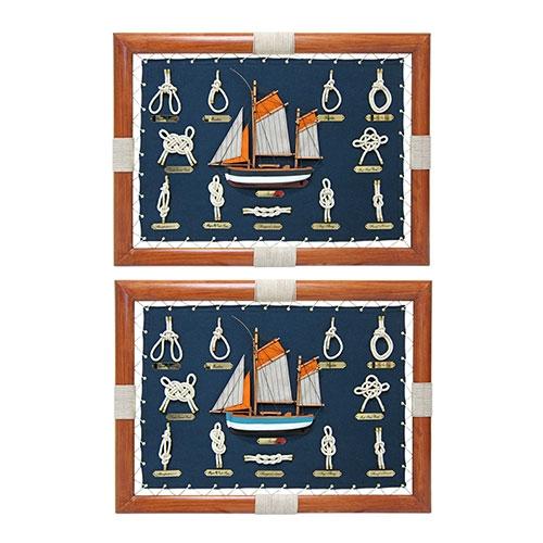 Conjunto de Quadros Sailboat And Ropes em Madeira - 60x45 cm