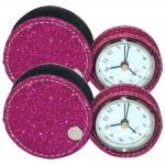 Conjunto Relógio de Viagem - 2 Peças - Rosa c/ Glitter Pequeno em Courino - 6x6 cm