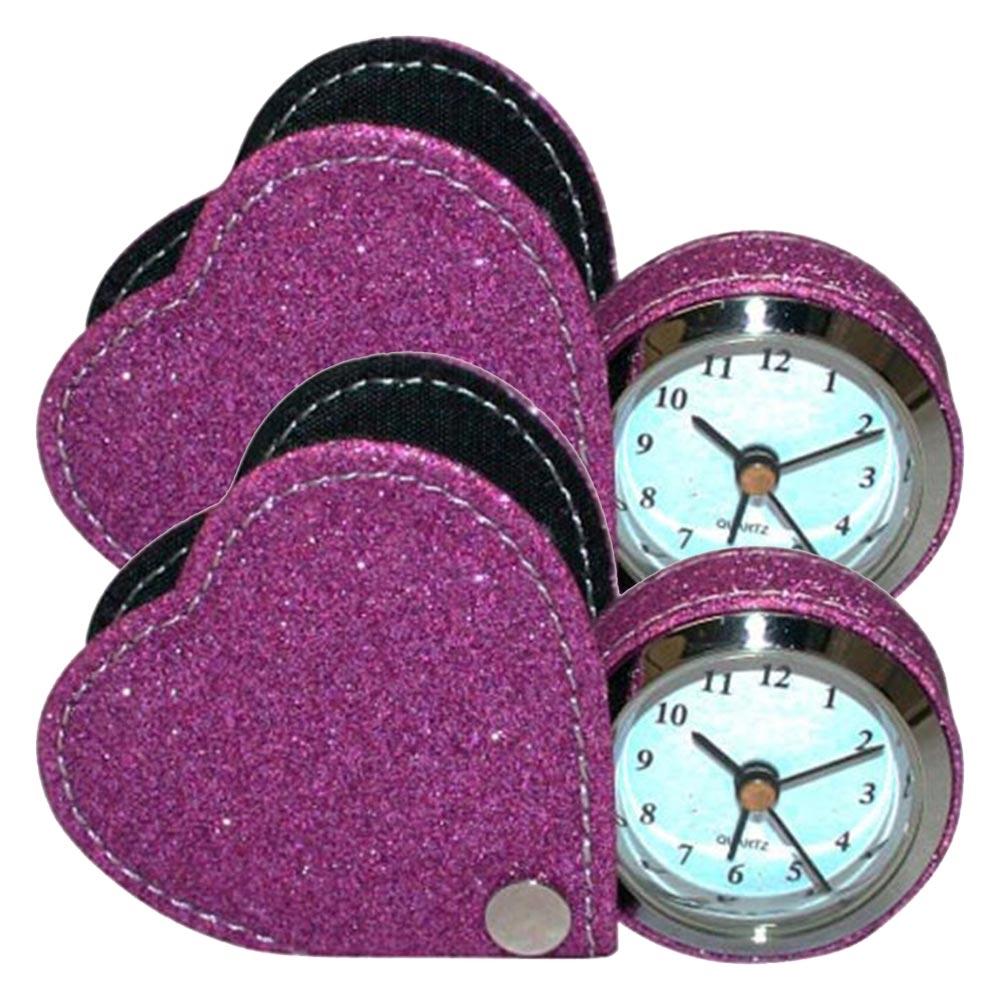 Conjunto Relógio de Viagem Coração - 2 Peças - Rosa c/ Glitter Pequeno em Courino - 7x7 cm