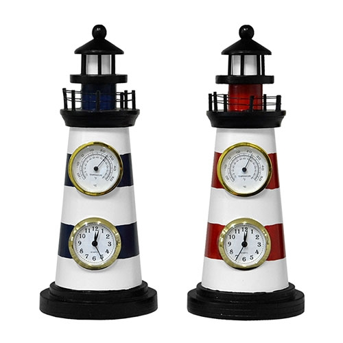 Conjunto Relógios de Mesa Farol c/ Termômetro - 33x13 cm