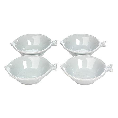 Conjunto de Saladeiras Brancas Peixe em Porcelana - 12x5 cm